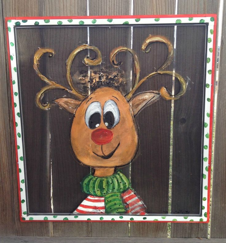 "Recycle Old Window Screen Hand painting ""Reindeer"" by RebecaFlottArts on Etsy https://www.etsy.com/listing/213844450/recycle-old-window-screen-hand-painting"