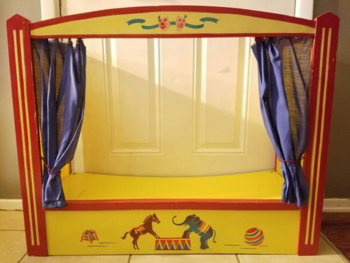 Vintage-Puppet-Stage-Theater-Wood-Circus-Daycare-School-Imagination-Prop