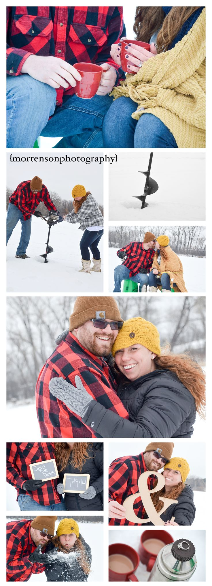 Adorable Ice fishing engagement photos - www.mortensonphotography.com