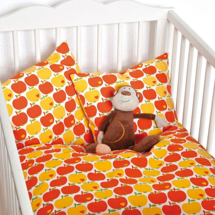 Kinderbettwäsche Apfel / Orange