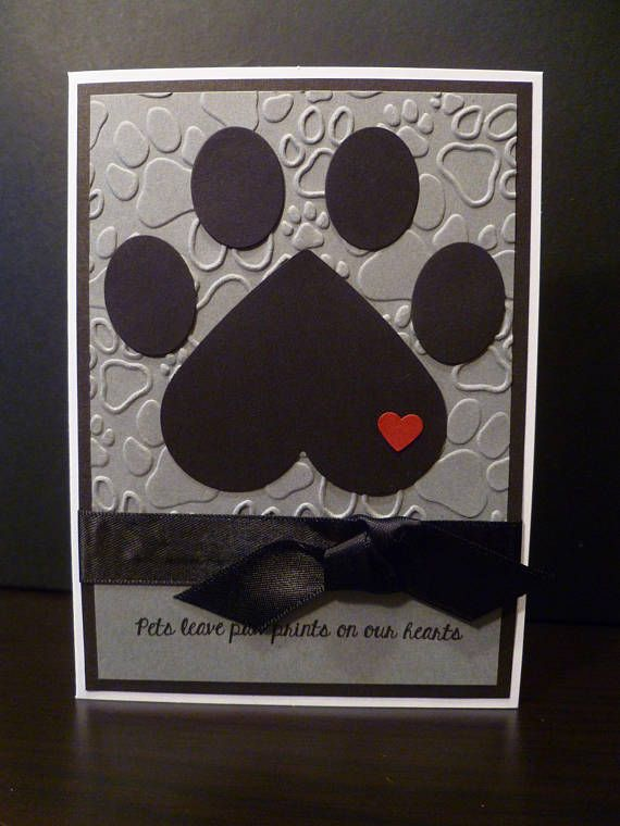 handmade pet sympathy card  paw print  heart