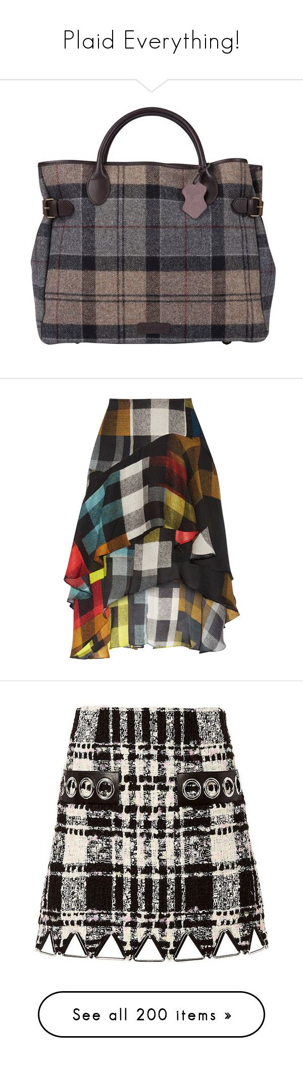 """""""Plaid Everything!"""" by jennross76 ❤ liked on Polyvore featuring bags, handbags, plaid bag, barbour bags, real leather bags, business bag, plaid purse, skirts, bottoms and multi"""