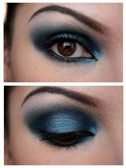 Not quite our standard eyeshadow look for this outfit.....but the colour is incredible!   (Midnight Blue Smokey Eye)