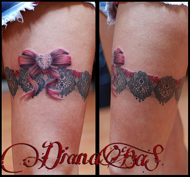 garter with bow tatttoo...