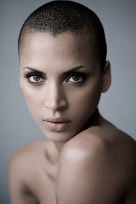 French model Noémie Lenoir shaved her head in 2007 (see video here) for her movie role in Rush Hour 3. Photographed by Russell James.