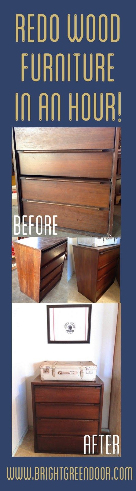 Midcentury Dresser Re-do without Sanding or Staining