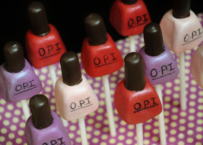Opi Nail Polish Cake Pops.  Can be really cute for a bridal shower.