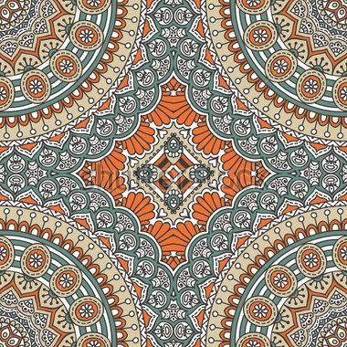 Бесшовный узор из Индии. Круглый орнамент шаблон. Старинные декоративные элементы. Рисованной фон. Ислам, арабский, индийский, Османской мотивы.