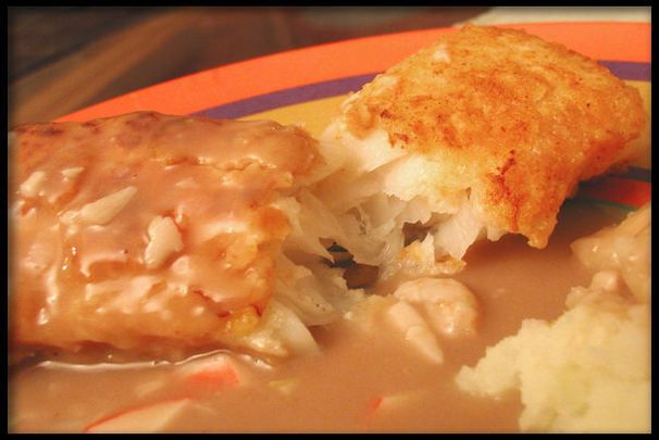 Pappadeaux Ponchartrain {pan-grilled redfish with crabmeat & shrimp in a brown-butter wine sauce} copycat recipe