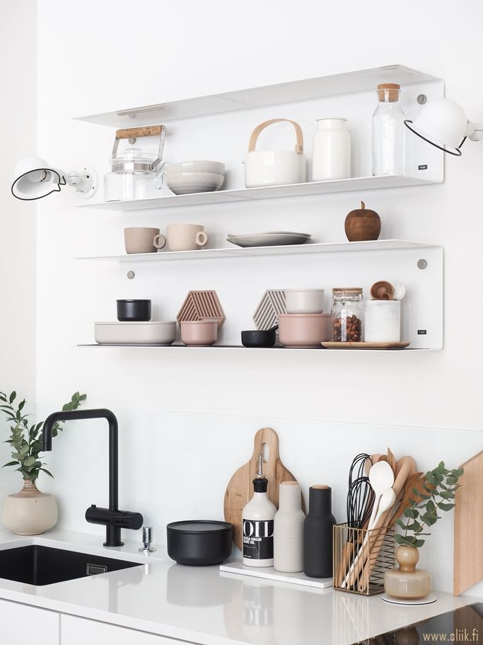 Lovely white kitchen with white metal open shelving above the sink kitchen reno in 2019 for Ikea rubinetti cucina