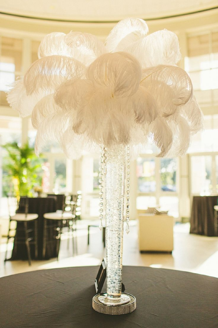 Modern black and white florida wedding feather