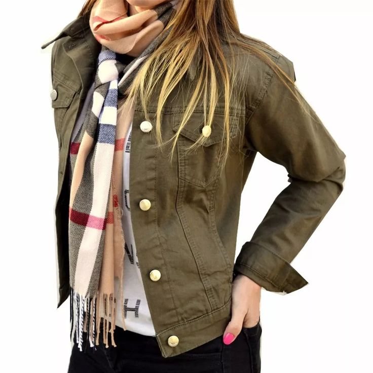 campera de jean verde militar mujer the big shop