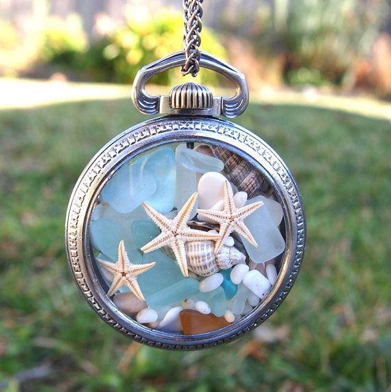 Pocket Watch Locket with Sea Glass, Starfish & Seashells