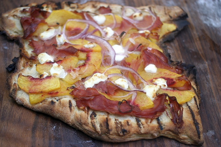 Grilled Pizza with Peaches, Prosciutto and Goat Cheese
