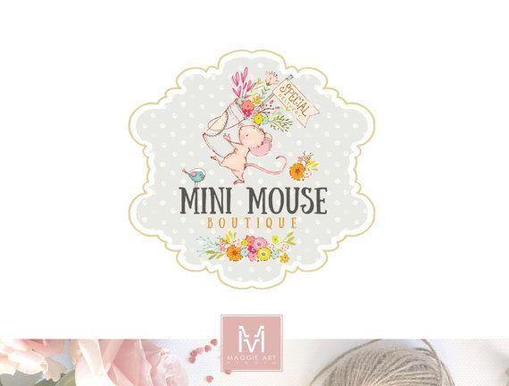 Mouse Logo,Floral Logo, Photography Logo,Artisan Logo, Boutique Logo ,Events Logo, Decor Logo, Stamp Logo, Logo,Watermark