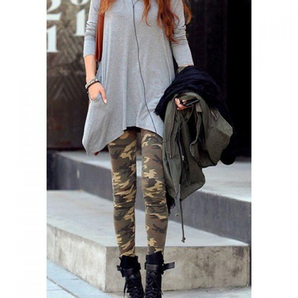 Personalised Camouflage Print Skinny Women's Leggings, ARMY GREEN, ONE SIZE in Leggings | DressLily.com