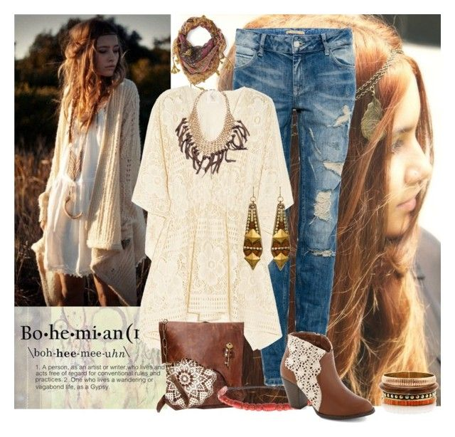"""""""Boho Jeans Outfit"""" by helenehrenhofer ❤ liked on Polyvore featuring Bohemia, Pull&Bear, Anna Sui, Deepa Gurnani, Skinny by Jessica Elliot, Sandy Hyun and Fantasy Jewelry Box"""