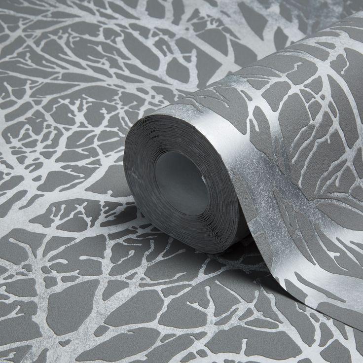 Life Grey & Silver Tree Print Metallic Wallpaper | Departments | DIY at B&Q