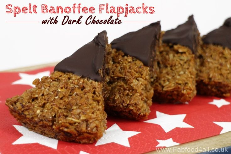 Spelt Banoffee Flapjacks with Dark Chocolate - so nutritious and delicious! Fab Food 4 All