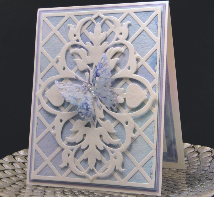 Bday card for Mary Ann 2015                                                                       Water colored background. Cheery Lynn lattice work, Anna Griffith die cut with dimensionals behind it, Bo Bunny butterfly (out of more water colored paper) Made by Peggy Dollar