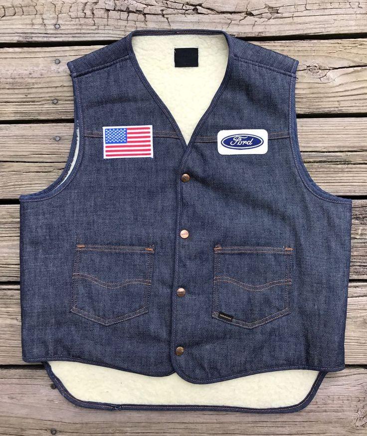 Vintage 70s ROEBUCKS FORD Blue Oval Sherpa Lined Trucker Denim Jean Vest Men's L #Roebucks #TruckerBiker
