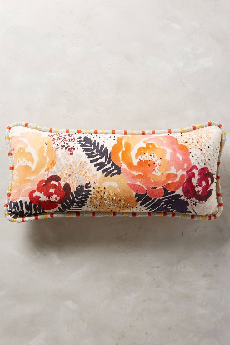 "Watercolor Floral Pillow - anthropologie.com  $98. Hand-embroidered cotton canvas; polyfill. Bottom zip, Machine wash, gentle. 12""x27""  Pink print back."