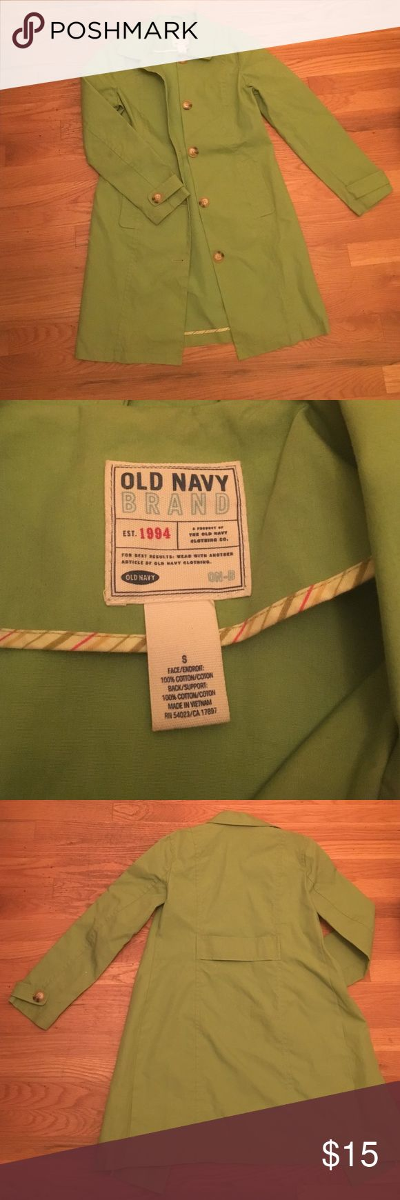"""cheery """"Old Navy"""" green trench coat worn once, very cute, great statement piece! Old Navy Jackets & Coats Trench Coats"""