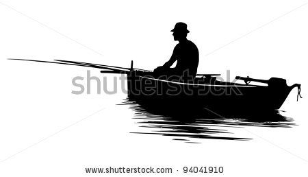 Fisherman in a boat silhouette - stock vector