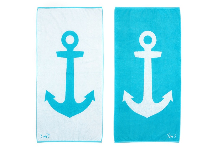 One Kings Lane - Beach Towels - Tom Slaughter Anchor, Aqua