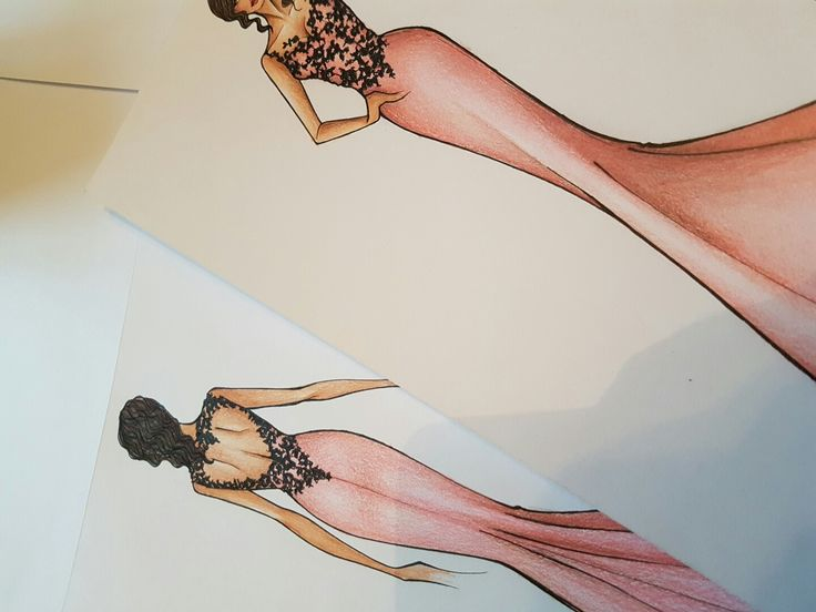 Fashion , fashiondesigner . Stilista, my draw, disegno moda, abito moda, fashion draw! Dress! Rosa cipria e nero