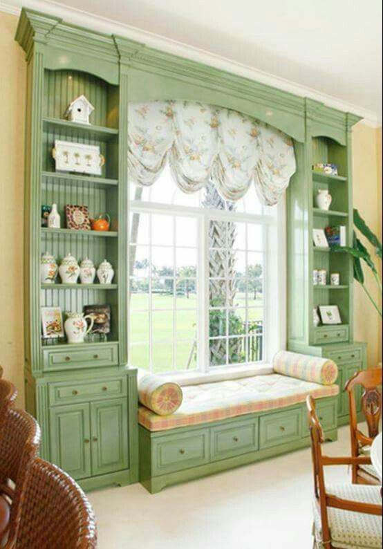 Window seat with built in bookcases, shelves