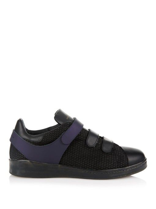 Alexander McQueen Leather and mesh-suede trainers