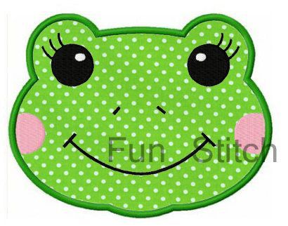Frog applique machine embroidery design on Etsy, $4.00