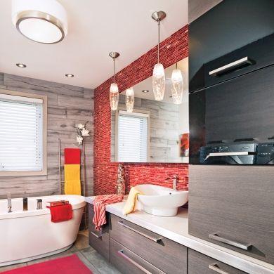 salle de bain rouge contemporain salle de bain avant aprs dcoration et rnovation - Decoration Salle De Bain Rouge