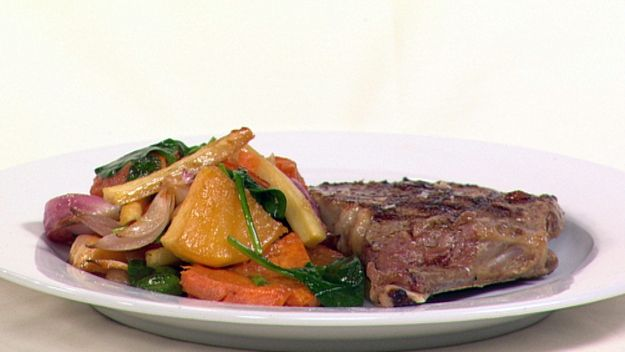 Steak with maple roasted vegetables