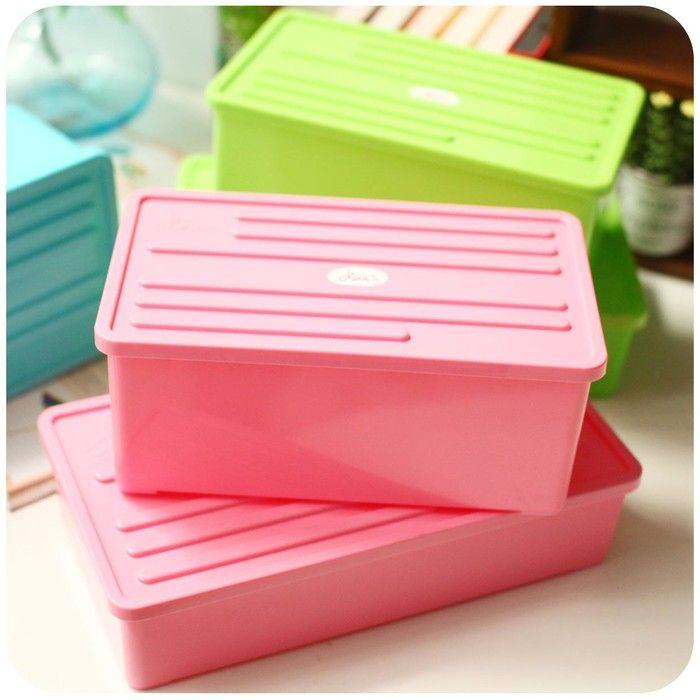 塑料有盖多功能防水护肤化妆品桌面收纳盒零食杂物装书本储物盒子