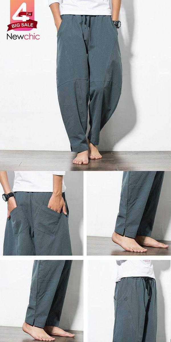 c3a2e4d15e 【US$ 25.88】Mens Casual Baggy 100% Cotton Harem Pants Solid Color Loose Wide  Leg Pants. #men #outfits #mensfashion