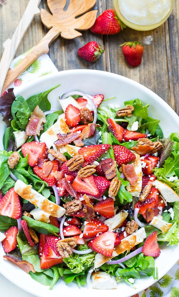 Strawberry Fields Salad with bacon, feta, glazed pecans, and a sweet and tangy dressing. @FMSCLiving
