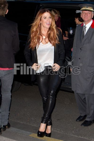 Poppy Montomery 2012 France Leather Pants | Actress Poppy Montgomery is seen leaving her hotel on September 24 ...
