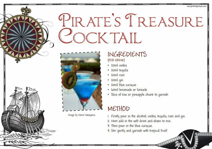 Pirate Cocktail Recipe Pirate S Treasure Get The Recipe