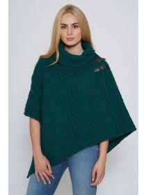 Shawl Collar Poncho Forest Green