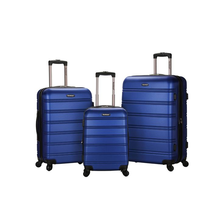 Rockland Melbourne 3-Piece Hardside Spinner Luggage Set, Blue