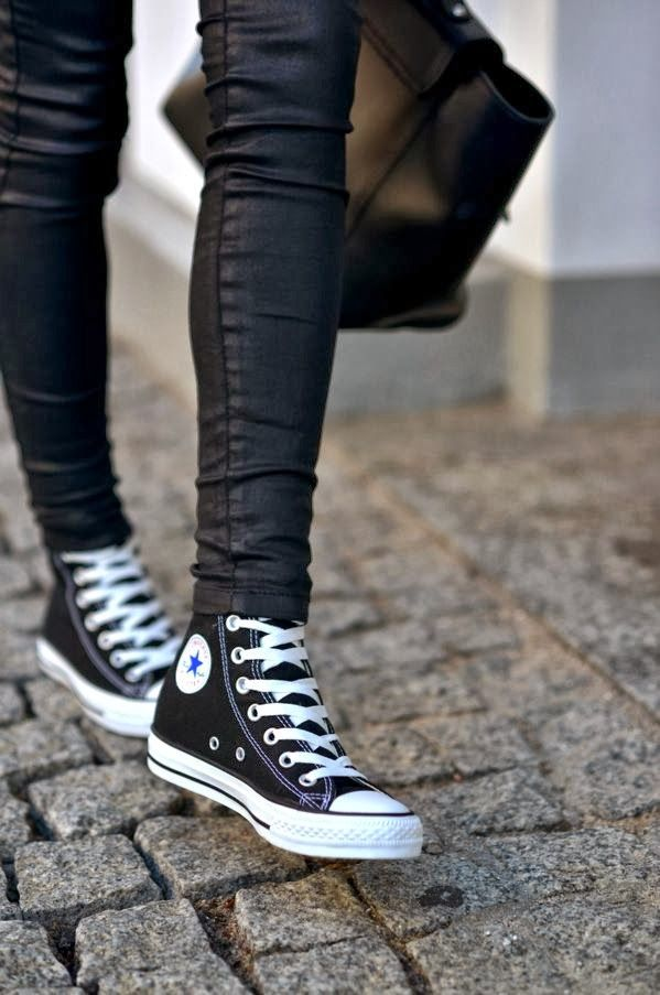 Converse Sneakers With Leather Pants. Classic sneaks I always keep around.