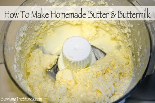 How to make homemade butter and buttermilk.  It's so easy!!  I always find the organic whipping cream on manager's special at my Kroger store so it ends up being super cheap!