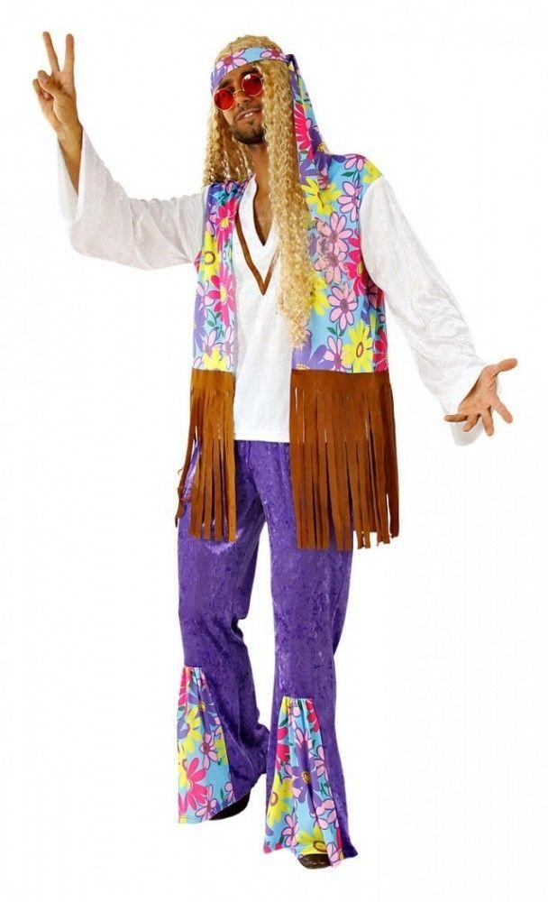 Kostüm Hippie Mann für Fasching oder Mottoparty zum Thema 70er Jahre