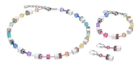 Geo Cube multicolour white necklace, earrings and bracelet 2838_1552. All hand made in Germany.