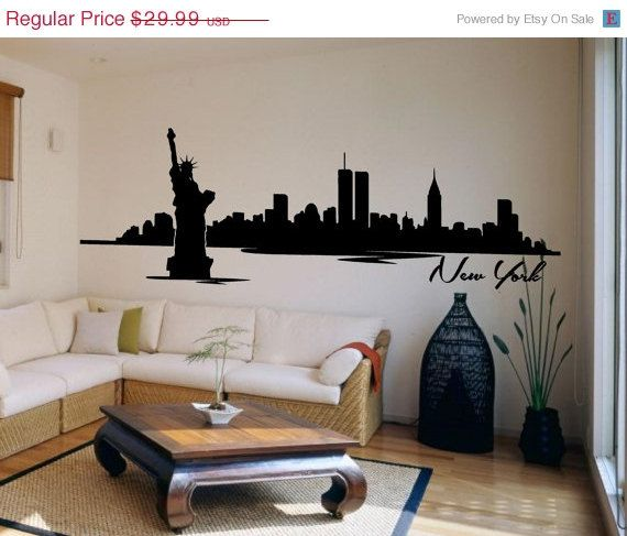Nyc Skyline New York City Statue Of Liberty Vinyl Mural Wall Decal Sticker  Label Wall Nursery