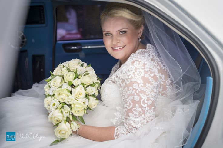 Beautiful bride Kaye arriving at St Mary's Church Kingswinford. for her marriage to Dean Saturday 25 June.
