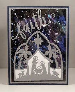 Lois' card using Nativity Silhouette & Faith Phrase dies