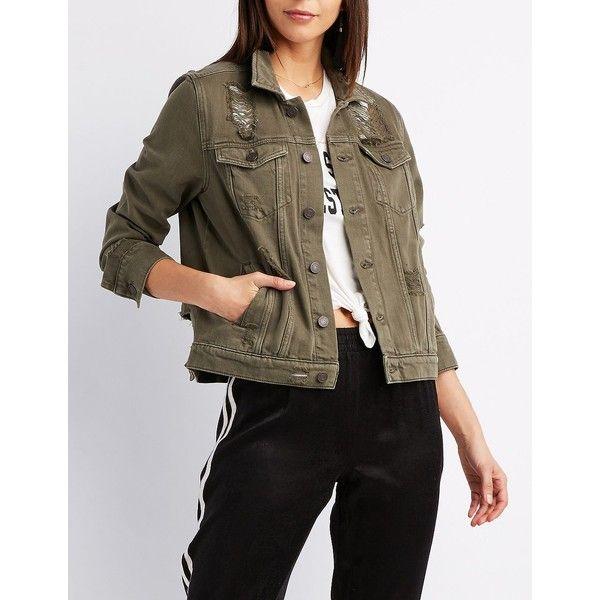 Refuge Boyfriend Destroyed Denim Jacket (23.070 CLP) ❤ liked on Polyvore featuring outerwear, jackets, olive, embellished denim jacket, embellished jean jacket, oversized denim jackets, distressed jean jacket and boyfriend jean jacket